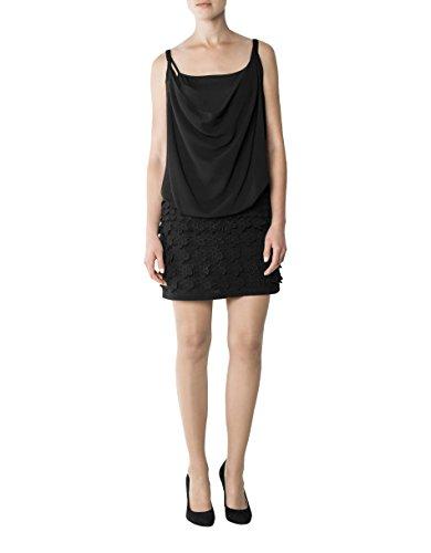 Dress Mikrofaser Größe 42 Damen KOOKAI Kleid Unifarben Schwarz Farbe Rqattw