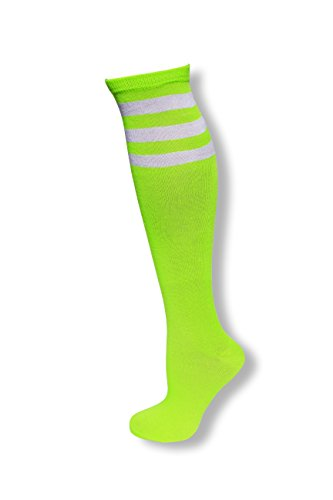 Neon Nation Colored Knee High Tube Socks w/White Stripes-Neon Green