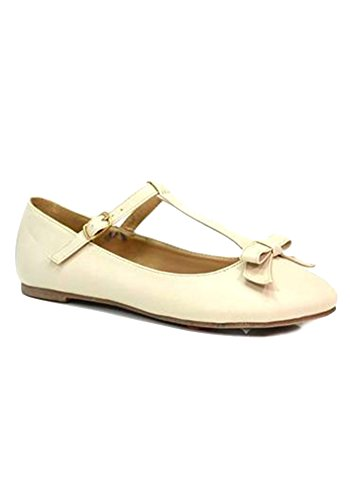 Chase and Chloe Aspen-1 Classic Bow T-Strap Ballet Flat-Nude-5.5
