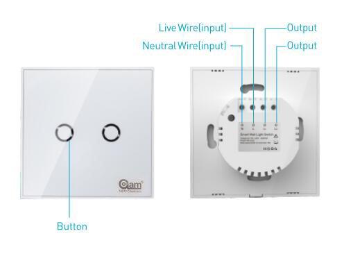 Z-Wave plus z-Wave panneau tactile de lumi/ère murale Interrupteur-2gang