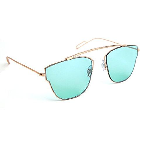 JOOX Fashion Metal Square Sunglasses and 100% Uv Protection Lens (Shiny gold/Blue, - Uv Sunglasses Highest Protection