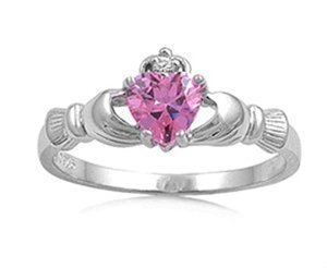 - Oxford Diamond Co Irish Calddagh Pink Cz Ring Size 11