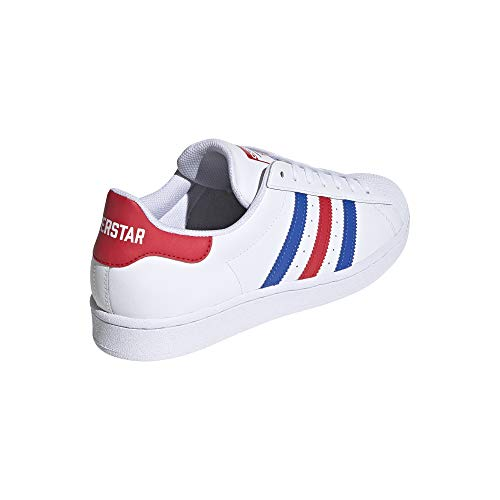 adidas Originals Men's Super Star Sneaker, White/Blue/Team Collegiate Red, 16