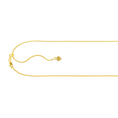 PriceRock 14K Solid Yellow Gold Adjustable Popcorn Chain Necklace 1.3mm thick 22 Inches
