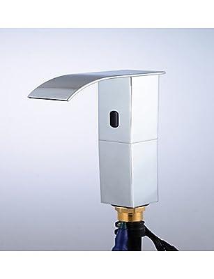 Bopm Automatic Touchless Sensor Waterfall Bathroom Sink Vessel Faucet Chrome