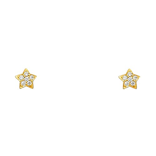 (14k Yellow Gold Star Stud Earrings with Screw Back)