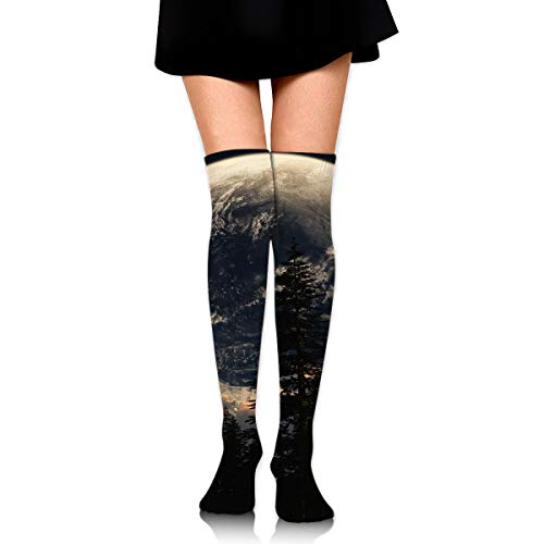 (Lights Moon Scenic Clouds Forest Night High Knee Socks For Boots Long Dress Compression Polyester Sox Leg Tube)