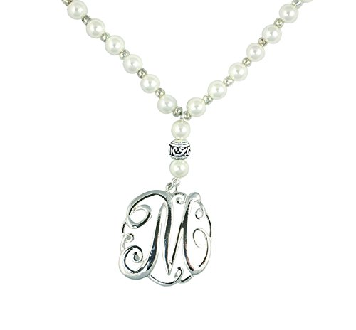Monogram Silver Tone Charm 6mm Glass Pearl Body Necklace 30
