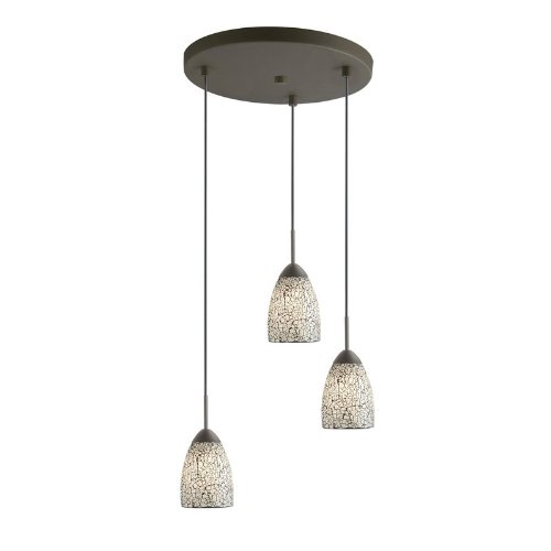 - Woodbridge Lighting 13224MEB-M20WHT Venezia 3-Light Multi-Light Pendant, Metallic Bronze