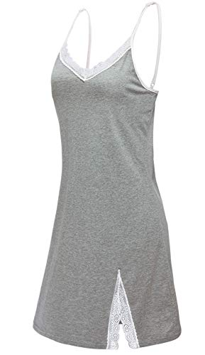 Chamllymers Women Sexy Cotton Sleepwear Lace Neck Chemise Gray - Chemise Cotton Lace