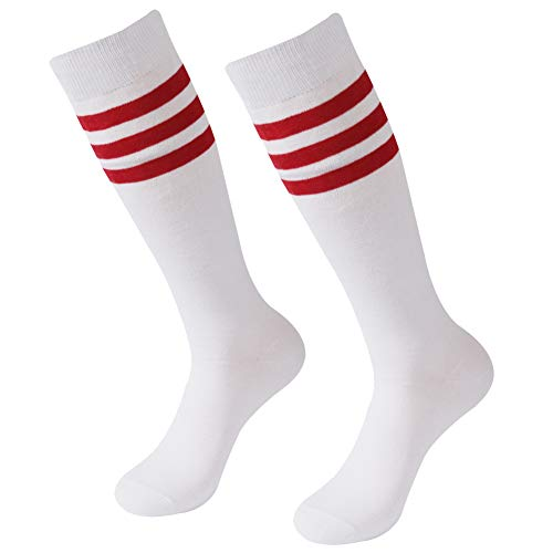 (Solid Soccer Socks, SUTTOS White 2 Pairs Unsiex Adult Youth Knee High Socks Team Sports Cotton Lacrosse Baseball Rugby Football Tube Socks,White Red Back to School Socks 2 Pairs)
