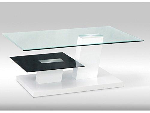 Table Laqué Blanc Et Ii Verre Debora Trempé Mdf Basse gyvbf6Y7