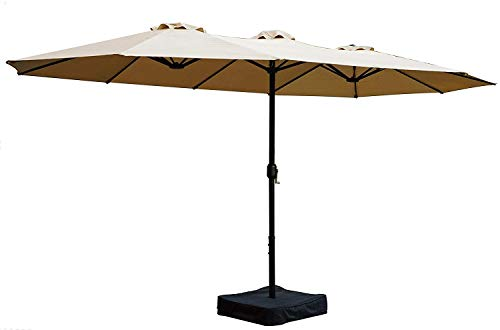 Kozyard Butterfly 14' Outdoor Patio Double-Sided Aluminum Umbrella with Crank and Base (Umbrella 150 Base Lb)