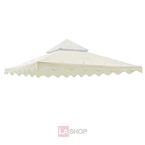 Ivory Color 10 x 10 Ft Square Garden Canopy Gazebo Replacement Top 2-Tier Outdoor Patio Yard Party UV Protect Sun Block Shade Poly-vinyl Fabric - Party Tent Replacement