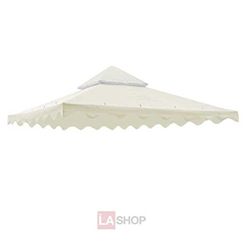 """Sturdy 10' Foot/ 121"""" Inch Square Ivory Poly-vinyl Garden Canopy Gazebo Replacement Top Two-tier Waterproof for Outdoor Patio UV Protection Sun Shade Tent Shelter"""