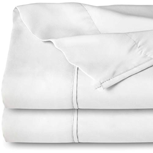 Bare Home Flat Top Sheet Premium 1800 Ultra-Soft Microfiber Collection - Double Brushed, Hypoallergenic, Wrinkle Resistant, Easy Care (Twin/Twin Extra-Long - 2 Pack, White)