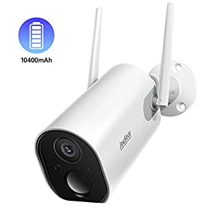 Outdoor Security Camera Wireless JouSecu Home Surveillance Bullet Camera 1080P 10400mAh Rechargeable Battery Powered Waterproof 2-Way Audio Night Vision PIR Motion Detection 2.4G WiFi