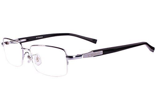 - Agstum Titanium Half Rim Glasses Frame Prescription 55-18-145 (Silver)