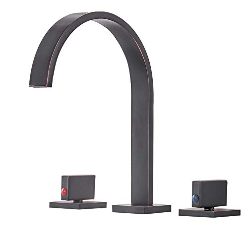 Aquafaucet Waterfall 8-16 Inch Oil Rubbed Bronze 3 Holes 2 Handles Widespread Commercial Bathroom Sink Faucet