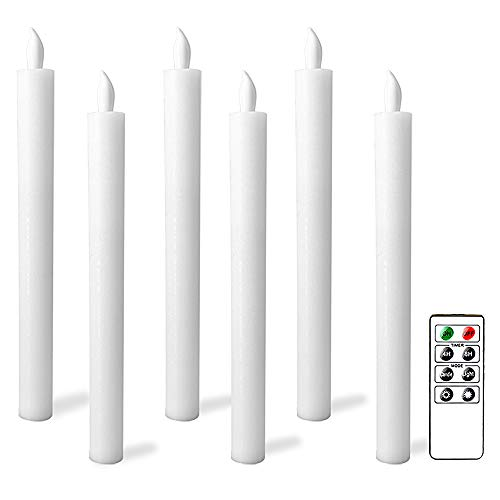 Flameless Flickering Taper Candles LED Battery Operated Windows Candlesticks with Remote and Timer, Pack of 6 Real Wax, Decoration for Tables by Eldnacele