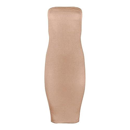FASHION BOOMY Women Stretch Strapless Basic Midi Tube Bodycon Dress