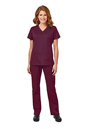 Elements by Alexander's Uniforms EL9925 Women's Four Way Stretch Scrub Set (Wine, Large) - Element Women Clothing