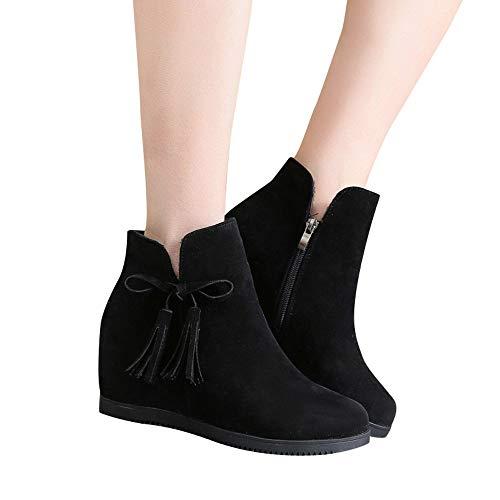 Panter ALIKEEY Martin Trabajo Casual Botines Shoes Suede Borla Wedges Botines Transpirable Mujeres Negro Botas Cremallera SxSqrv7wC