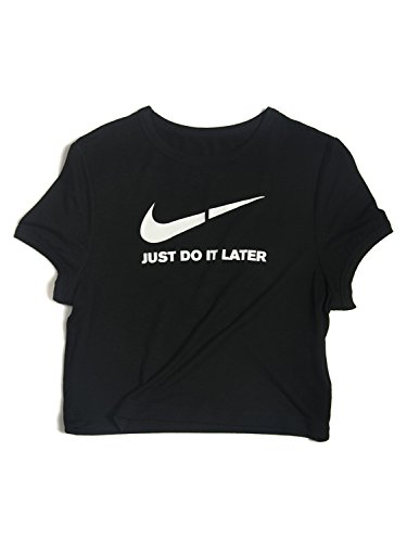 Cherry Womens Shirt (Joeoy Women's Black Just Do It Later Cropped Tee,Black,Large)