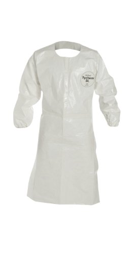 DuPont Tychem SL275T  SL Sleeved Apron, Disposable, Elastic Cuff, White, X-Large (Pack of 25)