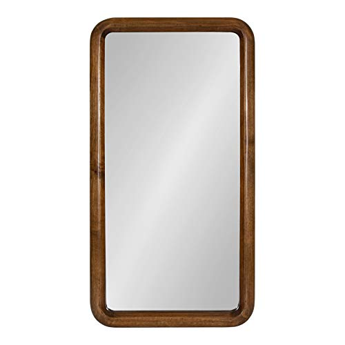 Kate and Laurel Pao Mid-Century Modern Wood Panel Wall Mirror, Walnut Brown (Over Sofa Mirror)