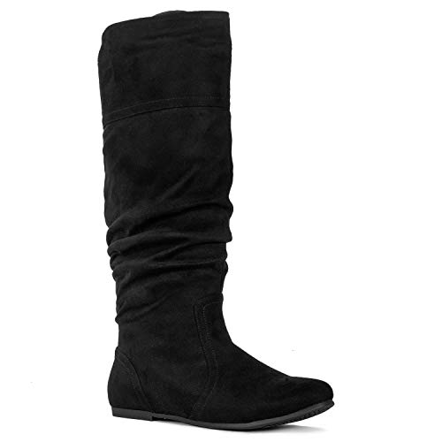 RF ROOM OF FASHION Medium Calf Slouchy Knee High Boots Black SU (7)
