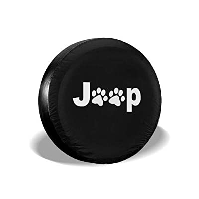 "Uktly Spare Tire Cover with Dog Pets Paws Tire Covers for RV Jeep Wrangler Trailer Campers 14 15 16 17 Inch Wheel Tire Cover (Jeep, 14"" for Diameter 23""-27""): Clothing"