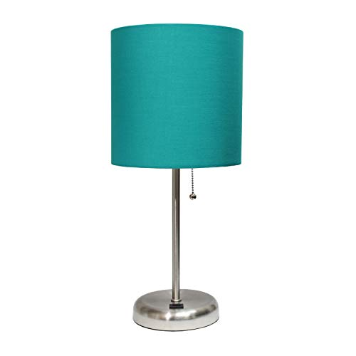 Limelights LT2044-TEL Stick USB Charging Port and Table Lamp, Brushed Steel/Teal (Shades Lamp Fun)