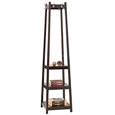 DlandHome Coat Rack with 3-Tier Storage Shelves & 8 Hooks, Entryway Corner Hall Free Standing Hat Clothing Rack Solid Wood, FYJ001-C Dark Brown, 1 Pack - 【Dimensions】: 15L * 15W * 68.9H inch (38L * 38W * 175H cm), shipping weights about 22.1 lbs (10kg). 【High Quality Healthy Material】: This coat racks organizer made from solid wood and environmentally friendly lacquer,waterproof, anti-corrosion, non-toxic, green, healthy materials, and trapezoidal structure, which ensures stability and durability. 【Meet Your Daily Needs】: This coat rack is very easy to install. You can hanging your garment, hat, handbag, purse and so on. And allows you to organize your daily wear clothes very well and keep your home or office very clean and tidy. - entryway-furniture-decor, entryway-laundry-room, coat-racks - 31Aj3wfDfCL. SS400  -