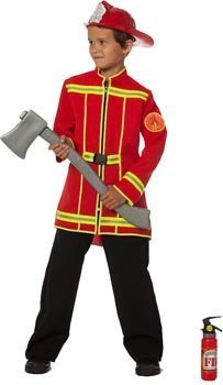 Wilbers Fireman Kids Costume (Red, 11-12 Years)