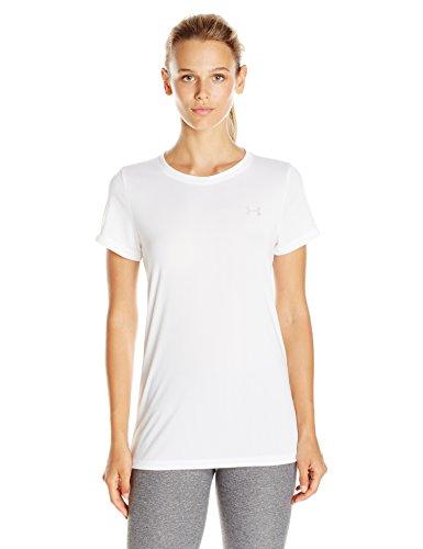 Under Armour Womens Tech T-Shirt, White (100)/Metallic Silver, Medium