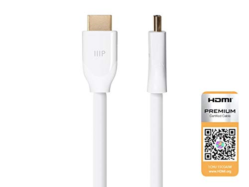 (Monoprice Certified Premium HDMI Cable - White - 20 Feet | 4K@60Hz, HDR, 18Gbps, 24AWG, YUV 4:4:4 )