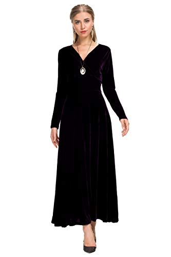 Le Vonfort Wear to Work, Women's Vintage Shimmer Velvet Office Long Dress Purple Medium -