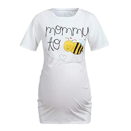Women Maternity Honeybee Cartoon T-Shirt Short Sleeve Tops Pregnancy Clothes ()