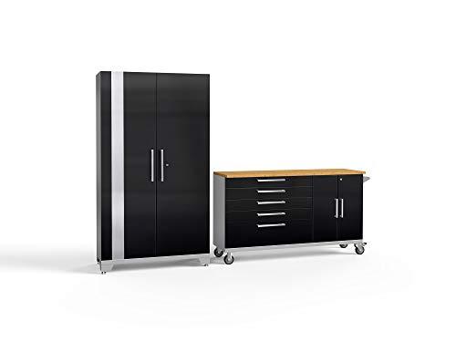 NewAge Products Performance 2.0 Black 2 Piece Set, Garage Cabinets, 54050