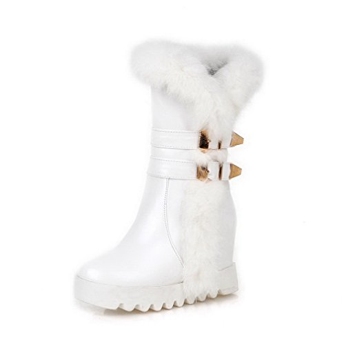Blend AgooLar auf Rein Stiefel Damen Ziehen Materialien Rund Hoher Absatz Weiß Zehe rwfURrzY