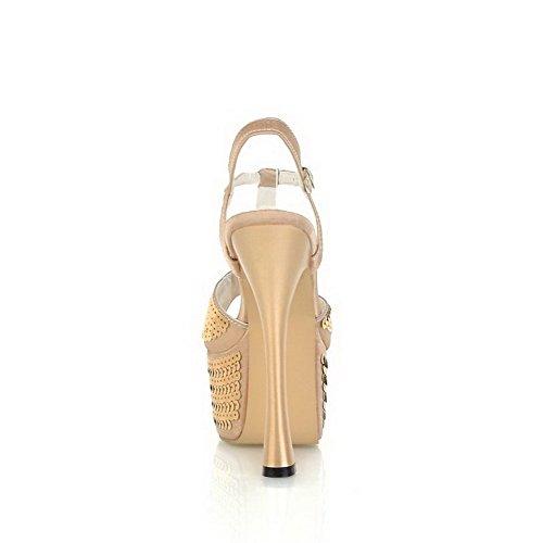 AmoonyFashion Womens Pu Solid Buckle Peep Toe High Heels Sandals Gold In2Wx