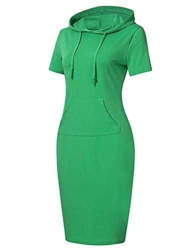 Menglihua Womans Basic Bodycon Pullover Hooded Hoodies Dress with Kangaroo Pockets Green Short Sleeve Large