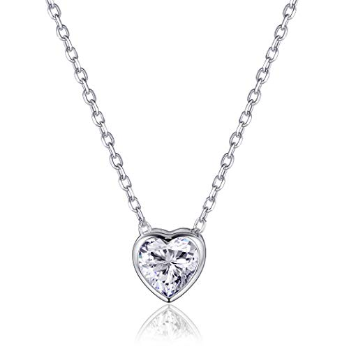 Tiny Heart Necklace Sterling Silver For Women/Girls Cubic Zirconia Collar Little Heart Charm Love Gift ()