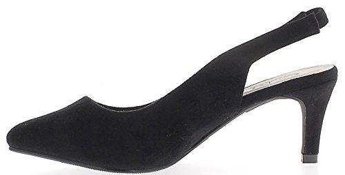 Escarpins ouverts pointus noirs à petits talons de 7 cm look daim