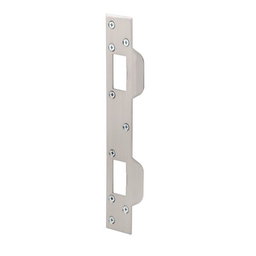 Defender Security U 10385 Prime Line Door Strike, for Use with 5-1/2 in and 6 in Hole Spacing's On Dead Latch and Deadbolt, Steel, Satin Nickel ()