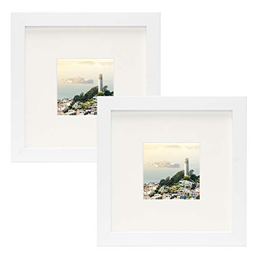 Frametory,Set of 2 White Square Instagram Photo Frame - 8X8 Table-Top (4x4 Matted) - Wide Molding - Built in Hanging Features (8x8 Set of 2, White) (Frame Square White Picture)