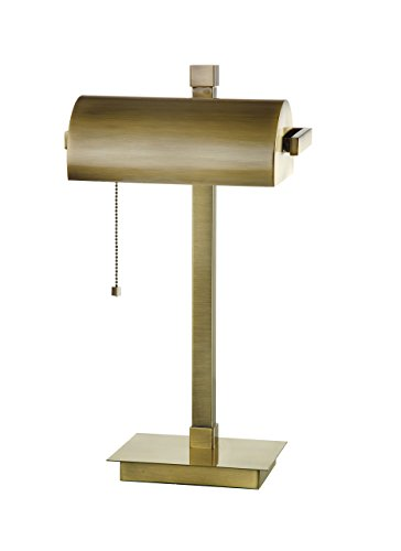 SH Lighting 31187AB Antique Brass Banker Style Lamp with Pull Switch, 19