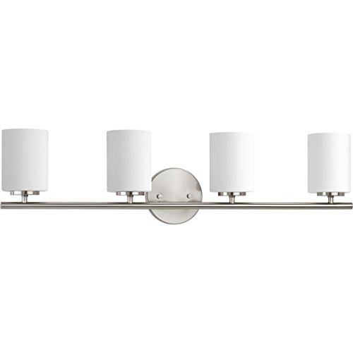 Progress Lighting P2160-09 Contemporary/Soft 4-100W Med Bath Bracket, Brushed Nickel Bracket Contemporary Bathroom Light