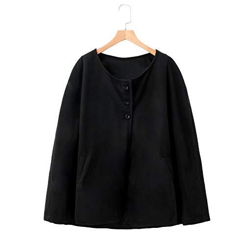 scialle cappotto nero Size Moda Plus cappotto Cappotto Donna vento lungo Vjgoal a di Colore Inverno Casual lana solido qw1BTO